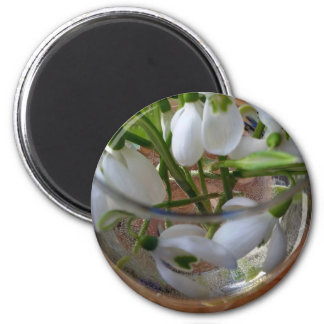 glass of snowdrops magnet