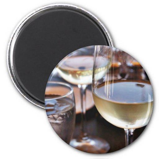 Glass Of White Wine 2 Inch Round Magnet