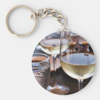Glass Of White Wine Basic Round Button Keychain