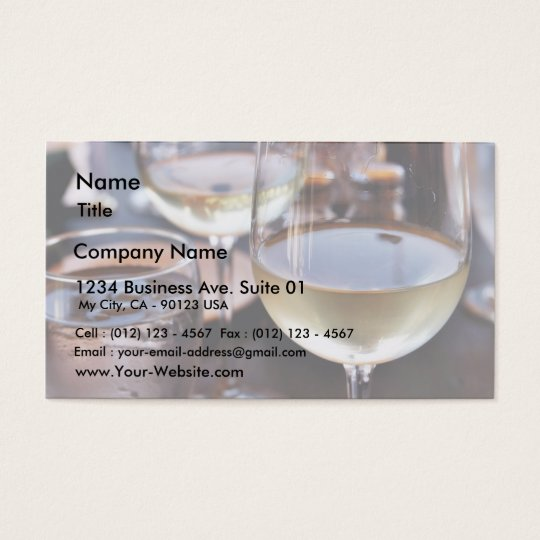 Glass Of White Wine Business Card