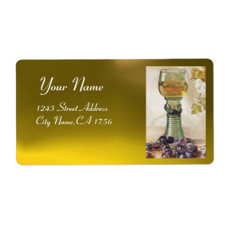 GLASS OF WHITE WINE, OLD GRAPE VINEYARD  PARTY LABEL