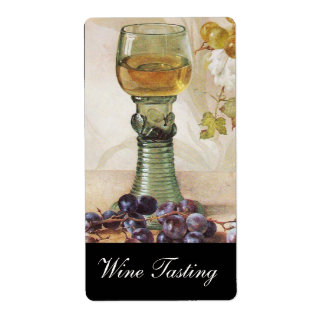 GLASS OF WHITE WINE ,OLD GRAPE VINEYARD PARTY LABEL