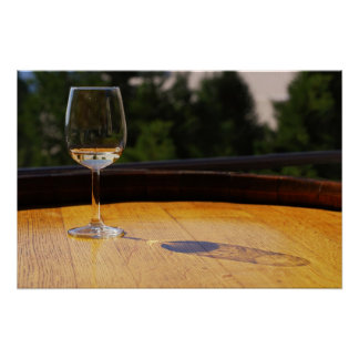 Glass of White Wine on Wooden Barrel Poster