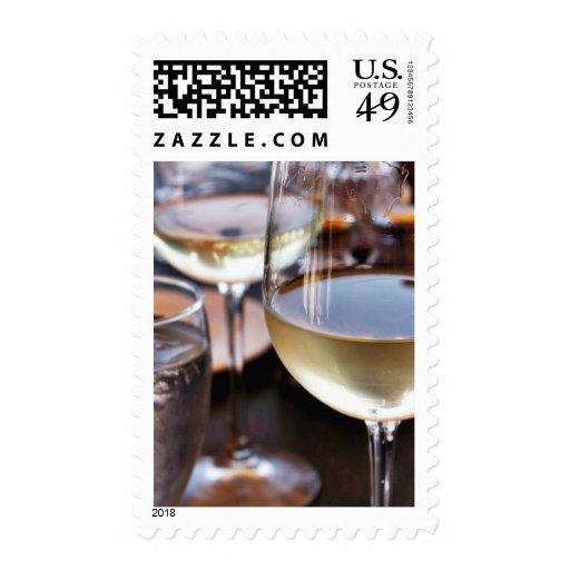 Glass Of White Wine Postage Stamp