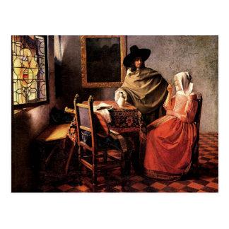 Glass of wine by Johannes Vermeer Postcard