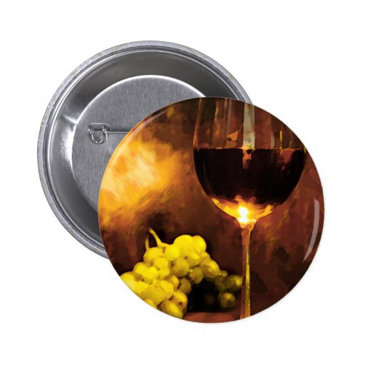 Glass of Wine & Green Grapes in Candlelight 2 Inch Round Button