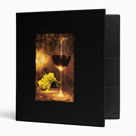 Glass of Wine & Green Grapes in Candlelight Binder