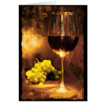 Glass of Wine & Green Grapes in Candlelight Cards