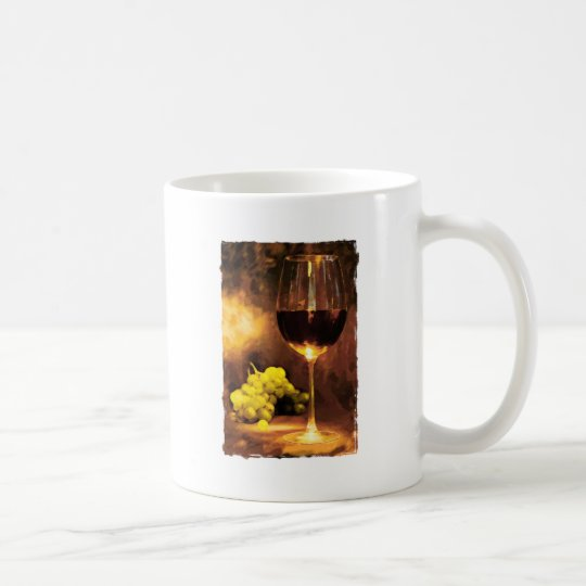 Glass of Wine & Green Grapes in Candlelight Coffee Mug