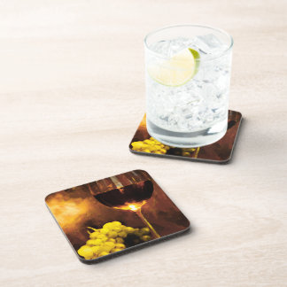 Glass of Wine & Green Grapes in Candlelight Drink Coasters