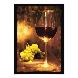 """Glass of Wine & Green Grapes in Candlelight 5"""" X 7"""" Invitation Card"""