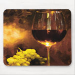 Glass of Wine & Green Grapes in Candlelight Mouse Pads