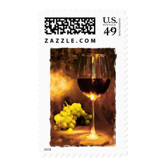 Glass of Wine & Green Grapes in Candlelight Stamp