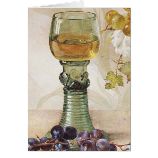GLASS OF WINE ,OLD GRAPE VINEYARD PARTY CARD