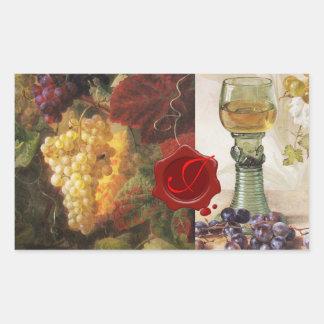 GLASS OF WINE ,OLD GRAPE VINEYARD PARTY MONOGRAM RECTANGULAR STICKER