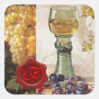 GLASS OF WINE ,OLD GRAPE VINEYARD PARTY MONOGRAM SQUARE STICKER