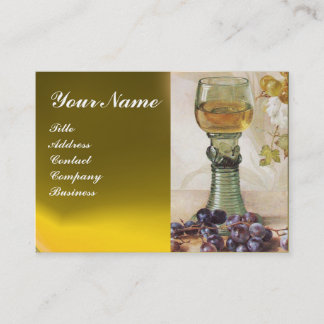 GLASS OF WINE, OLD GRAPE VINEYARD ,RED WAX SEAL BUSINESS CARD