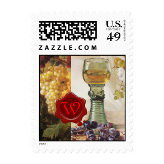 GLASS OF WINE, OLD GRAPE VINEYARD ,RED WAX SEAL POSTAGE STAMP