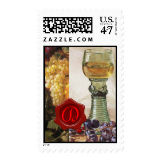 GLASS OF WINE, OLD GRAPE VINEYARD ,RED WAX SEAL POSTAGE
