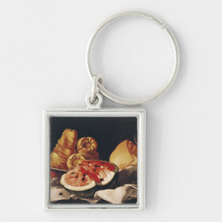 Glass of Wine, Watermelon and Bread Silver-Colored Square Keychain