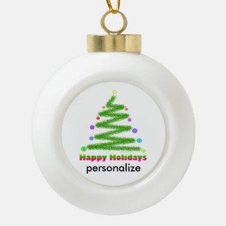 GLASS ORNAMENT - HAPPY HOLIDAYS CHRISTMAS TREE ART