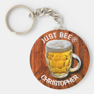 Glass Pint Beer Mug With White Head With Your Text Keychain
