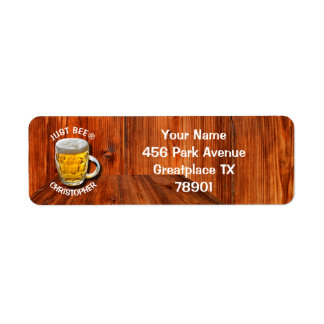 Glass Pint Beer Mug With White Head With Your Text Label