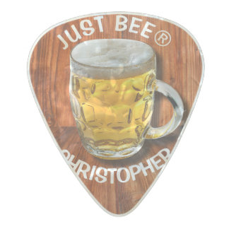 Glass Pint Beer Mug With White Head With Your Text Pearl Celluloid Guitar Pick