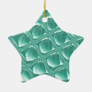 Glass Prison teal abstract minimalist square art Ceramic Ornament
