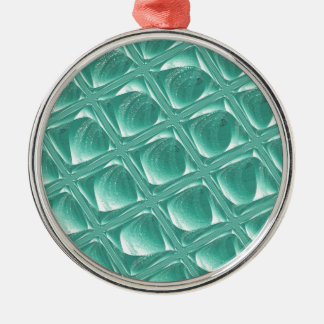Glass Prison teal abstract minimalist square art Metal Ornament
