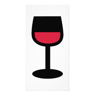 Glass red wine photo greeting card