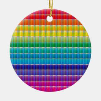 Glass Ribbon Rainbow Ceramic Ornament