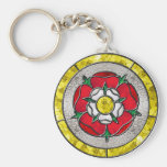 Glass Rose Basic Round Button Keychain