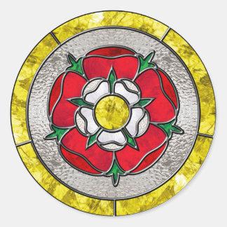 Glass Rose Classic Round Sticker