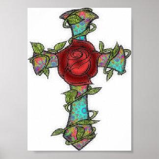 Glass Rose Cross Poster