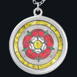 """Glass Rose Necklace<br><div class=""""desc"""">A virtual stained glass design featuring the english rose,  sometimes known as the tudor rose.</div>"""