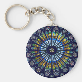 Glass Rose Window Basic Round Button Keychain