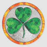 Glass Shamrock Classic Round Sticker