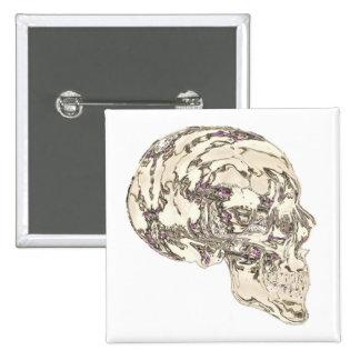 Glass Skull Reflecting Jewels Pinback Button