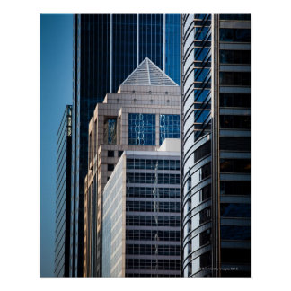 Glass skyscrapers line Chicago's financial Poster