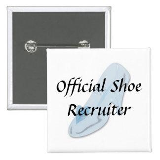 Glass Slipper, Official Shoe Recruiter 2 Inch Square Button