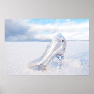 glass slipper on snow covered links golf fairway poster