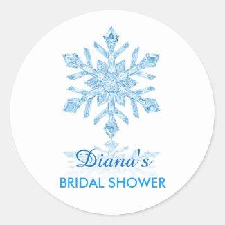 Glass Snowflake Winter Bridal Shower Favor Sticker