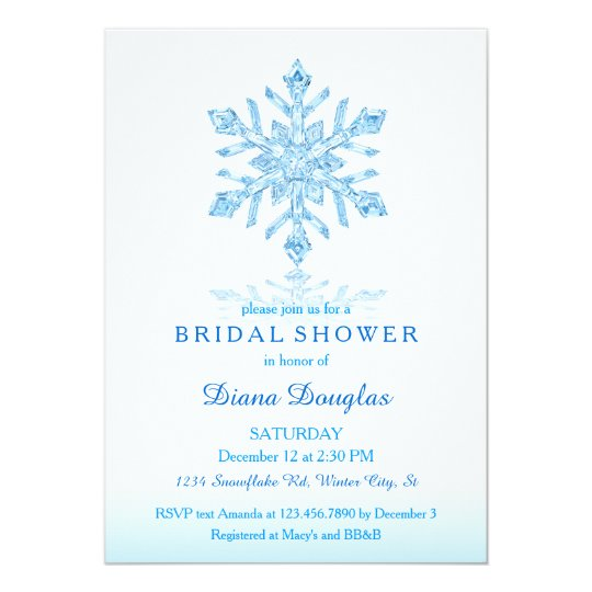 Glass snowflake winter bridal shower invitation zazzle glass snowflake winter bridal shower invitation filmwisefo