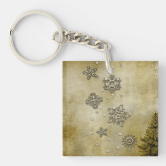 Glass Snowflakes on Tree Background Keychain