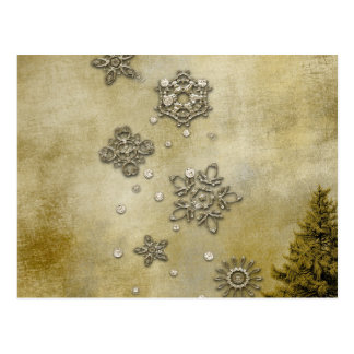 Glass Snowflakes on Tree Background Postcard