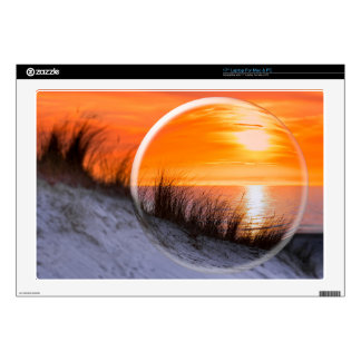 Glass sphere reflecting orange sunset decals for laptops
