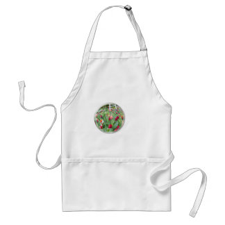 Glass sphere reflecting red tulips flower adult apron