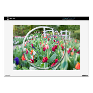 """Glass sphere reflecting tulips flowers 15"""" laptop decals"""