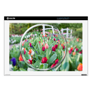 """Glass sphere reflecting tulips flowers decal for 17"""" laptop"""